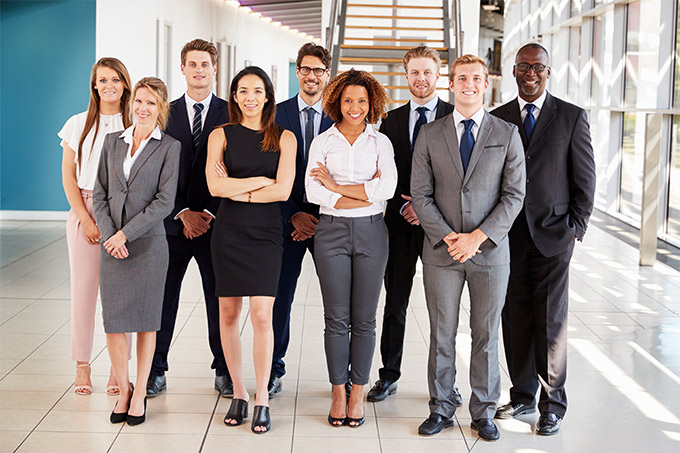 multi race group of people in business attire